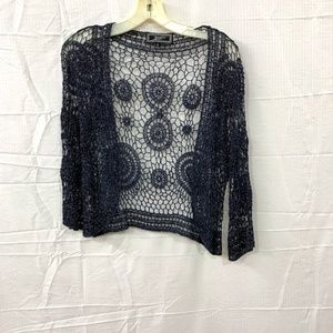 Shear Navy And Glitter Cropped Crochet Cardigan